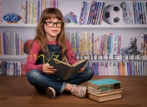 library, books, reading, glasses, study, crossed, bookshelf, toys, photo props, child, daughter, children, girl, teenager, model, granddaughter, , photoshoot, michelle rees photography