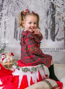 xmas, props, snow, red, white, winter, christmas, dress, child, daughter, children, girl, toddler, model, granddaughter, tartan, holly, stocking, photoshoot, xmas mini photoshoot, michelle rees photography